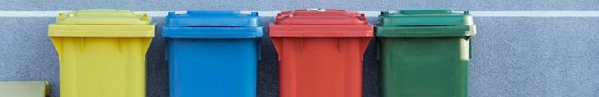 A row of wheelie bins