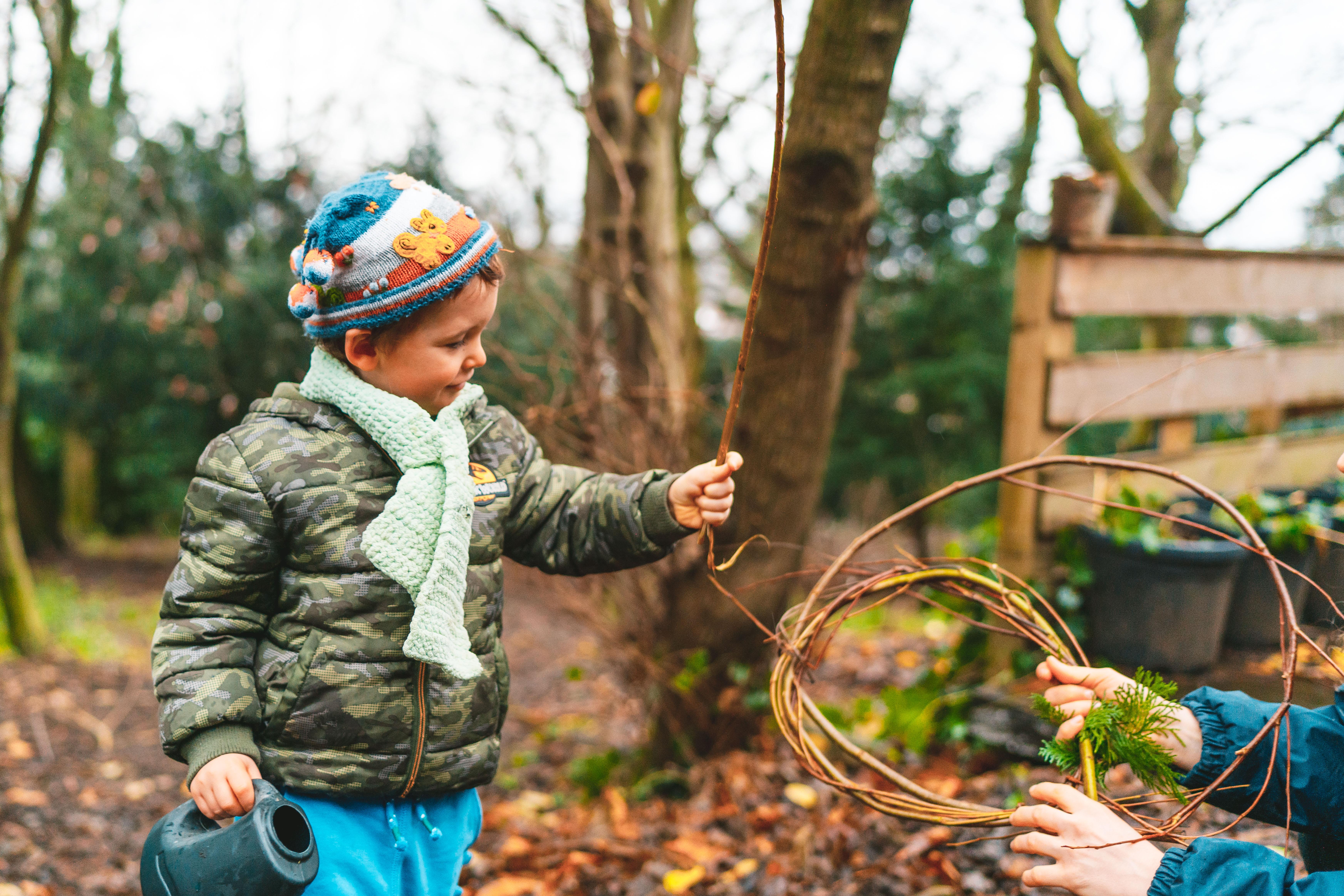child in wildlife garden