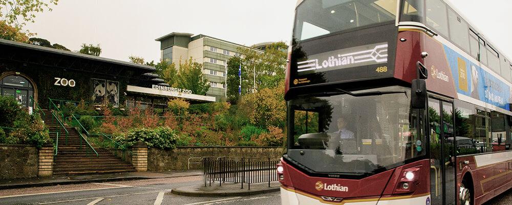 a lothian bus outside Edinburgh Zoo