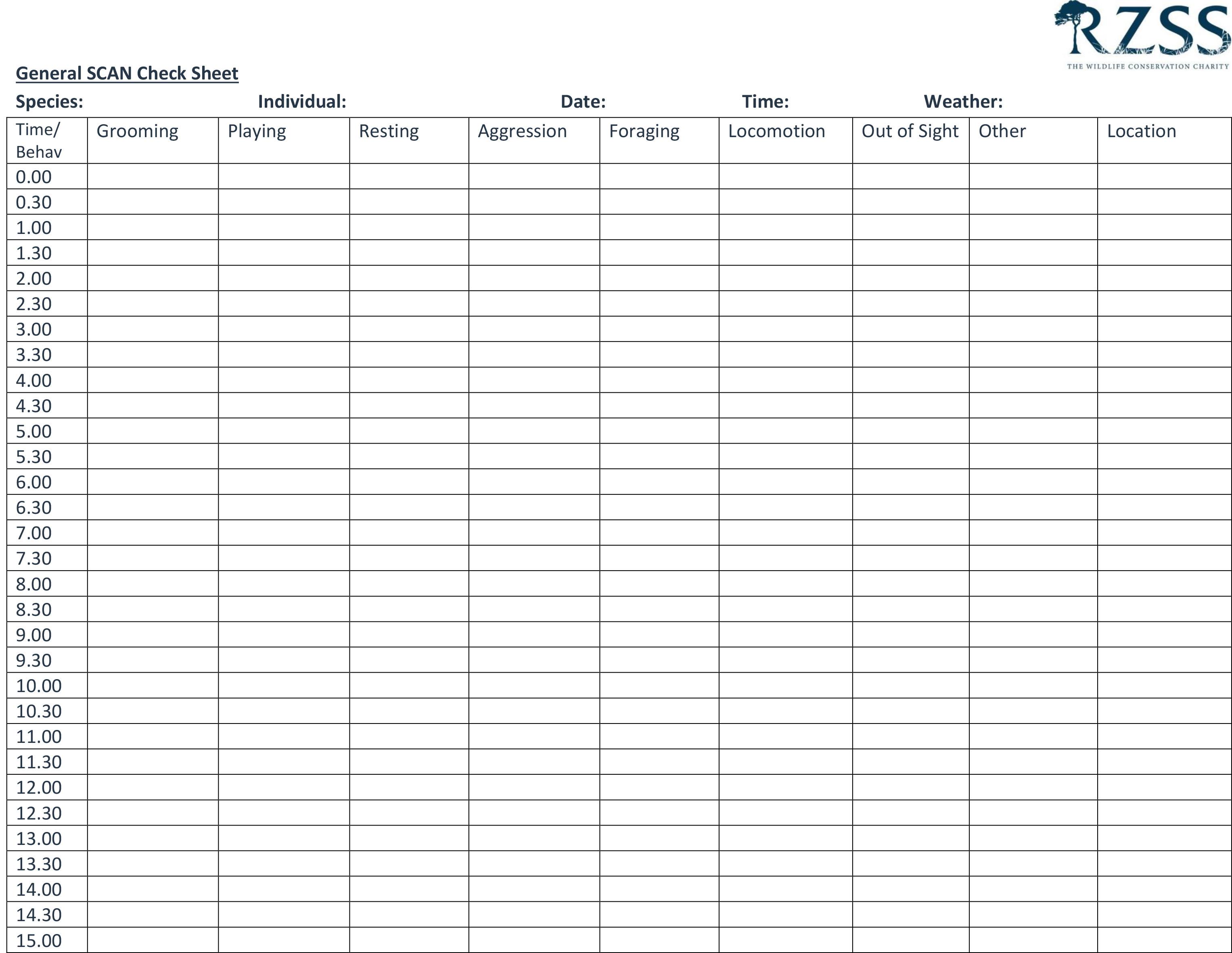 Scan check sheet